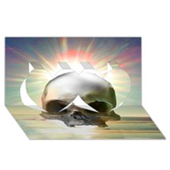 Skull Sunset Twin Hearts 3d Greeting Card (8x4)  by icarusismartdesigns