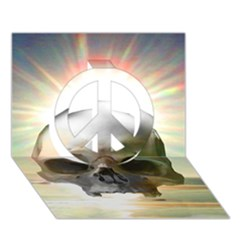 Skull Sunset Peace Sign 3d Greeting Card (7x5)