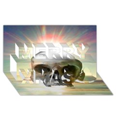 Skull Sunset Merry Xmas 3d Greeting Card (8x4)  by icarusismartdesigns