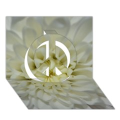 White Flowers Peace Sign 3d Greeting Card (7x5)  by timelessartoncanvas