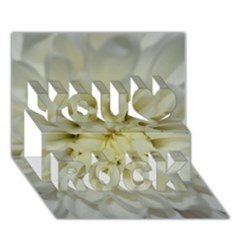 White Flowers You Rock 3d Greeting Card (7x5)  by timelessartoncanvas