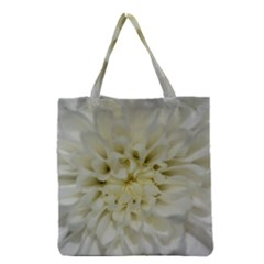 White Flowers Grocery Tote Bags