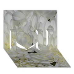 White Flowers 2 I Love You 3d Greeting Card (7x5)  by timelessartoncanvas