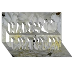 White Flowers 2 Happy Birthday 3d Greeting Card (8x4)  by timelessartoncanvas
