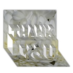 White Flowers 2 Thank You 3d Greeting Card (7x5)  by timelessartoncanvas