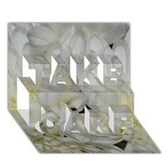 White Flowers 2 Take Care 3d Greeting Card (7x5)  by timelessartoncanvas
