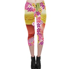 Macaroons And Floral Delights Capri Leggings by LovelyDesigns4U