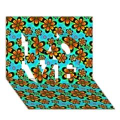 Neon Retro Flowers Aqua Love 3d Greeting Card (7x5)
