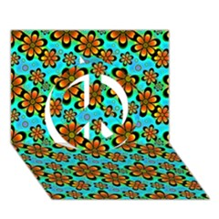 Neon Retro Flowers Aqua Peace Sign 3d Greeting Card (7x5)  by MoreColorsinLife