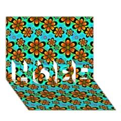 Neon Retro Flowers Aqua Hope 3d Greeting Card (7x5)