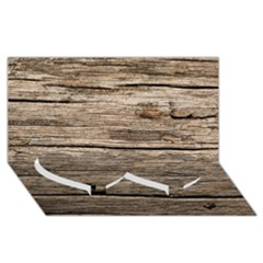 Weathered Wood Twin Heart Bottom 3d Greeting Card (8x4)