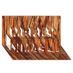 Old Brown Weathered Wood Merry Xmas 3d Greeting Card (8x4)