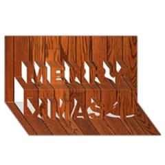 Oak Planks Merry Xmas 3d Greeting Card (8x4)