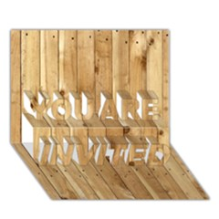 Light Wood Fence You Are Invited 3d Greeting Card (7x5)