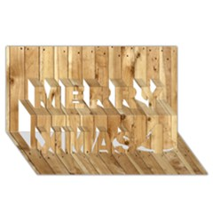 Light Wood Fence Merry Xmas 3d Greeting Card (8x4)