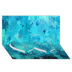 Splashes Of Color, Aqua Twin Heart Bottom 3d Greeting Card (8x4)