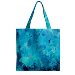 Splashes Of Color, Aqua Zipper Grocery Tote Bags by MoreColorsinLife