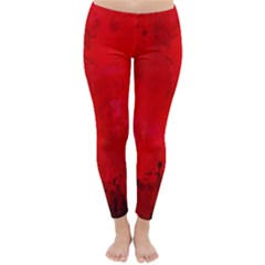 Splashes Of Color, Deep Red Winter Leggings  by MoreColorsinLife