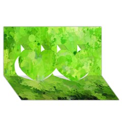 Splashes Of Color, Green Twin Hearts 3d Greeting Card (8x4)  by MoreColorsinLife