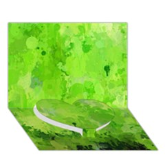 Splashes Of Color, Green Heart Bottom 3D Greeting Card (7x5)  by MoreColorsinLife
