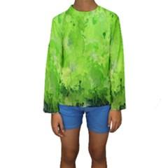 Splashes Of Color, Green Kid s Long Sleeve Swimwear