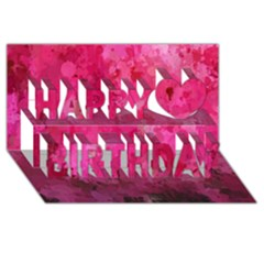Splashes Of Color, Hot Pink Happy Birthday 3d Greeting Card (8x4)  by MoreColorsinLife