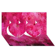 Splashes Of Color, Hot Pink Twin Hearts 3d Greeting Card (8x4)  by MoreColorsinLife