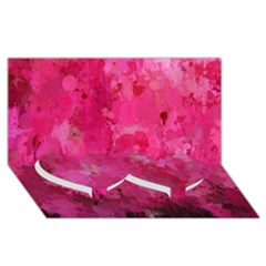 Splashes Of Color, Hot Pink Twin Heart Bottom 3d Greeting Card (8x4)  by MoreColorsinLife