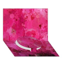 Splashes Of Color, Hot Pink Circle Bottom 3d Greeting Card (7x5)