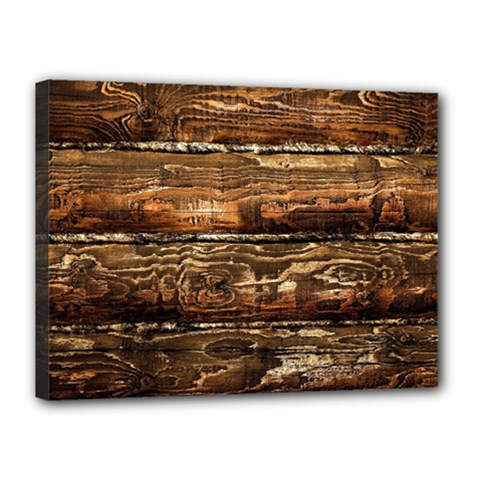 Dark Stained Wood Wall Canvas 16  X 12  by trendistuff