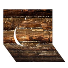 DARK STAINED WOOD WALL Circle 3D Greeting Card (7x5)