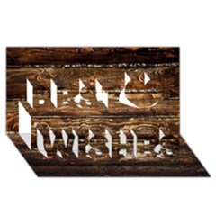 Dark Stained Wood Wall Best Wish 3d Greeting Card (8x4)