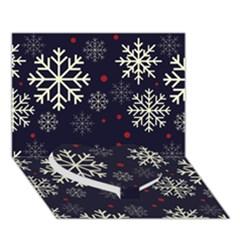 Snowflake Heart Bottom 3d Greeting Card (7x5)  by Kathrinlegg
