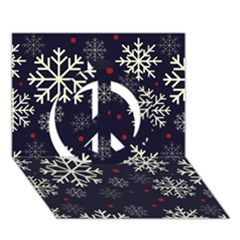 Snowflake Peace Sign 3d Greeting Card (7x5)  by Kathrinlegg
