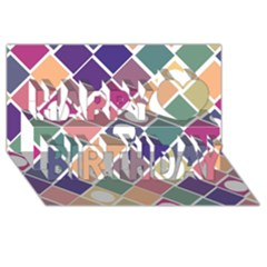 Dots And Squares Happy Birthday 3d Greeting Card (8x4)  by Kathrinlegg