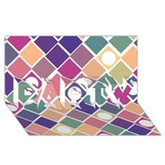 Dots And Squares Party 3d Greeting Card (8x4)  by Kathrinlegg