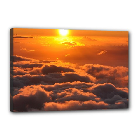 Sunset Over Clouds Canvas 18  X 12  by trendistuff