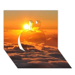 Sunset Over Clouds Apple 3d Greeting Card (7x5)