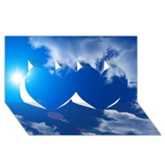 Sun Sky And Clouds Twin Hearts 3d Greeting Card (8x4)