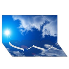 Sun Sky And Clouds Twin Heart Bottom 3d Greeting Card (8x4)  by trendistuff