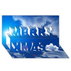 Sun Sky And Clouds Merry Xmas 3d Greeting Card (8x4)