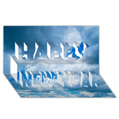 Cumulus Clouds Happy New Year 3d Greeting Card (8x4)