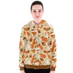Curious Maple Fox Women s Zipper Hoodie