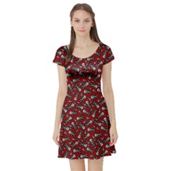 Cute Skeleton Pattern Short Sleeve Skater Dress