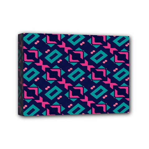 Pink and blue shapes pattern Mini Canvas 7  x 5  (Stretched) by LalyLauraFLM