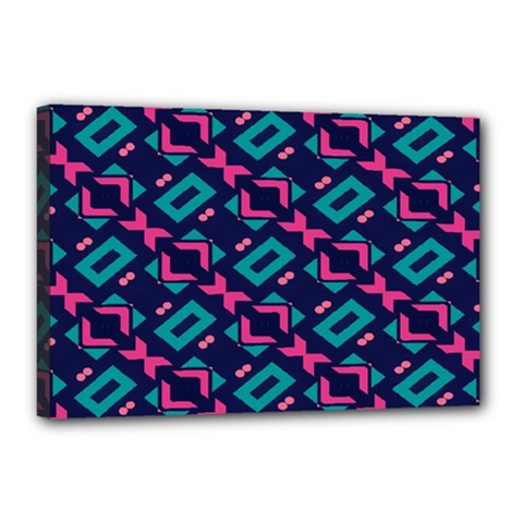 Pink And Blue Shapes Pattern Canvas 18  X 12  (stretched) by LalyLauraFLM