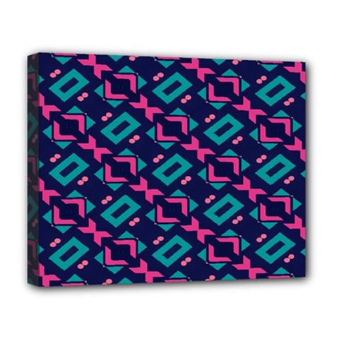 Pink And Blue Shapes Pattern Deluxe Canvas 20  X 16  (stretched) by LalyLauraFLM