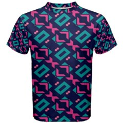 Pink and blue shapes pattern Men s Cotton Tee