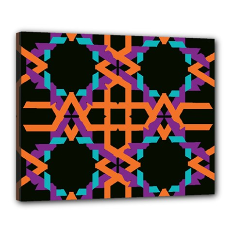 Juxtaposed Shapes Canvas 20  X 16  (stretched) by LalyLauraFLM