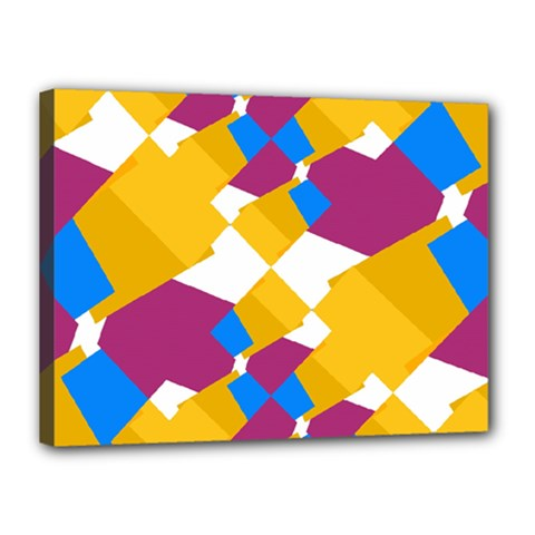 Layered Shapes Canvas 16  X 12  (stretched) by LalyLauraFLM